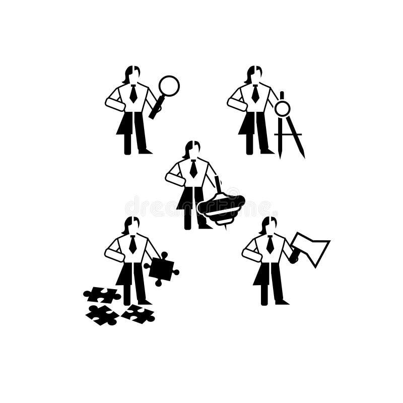 Um grupo de ícones preto e branco simples neutros do gênero no assunto do líder ilustração stock