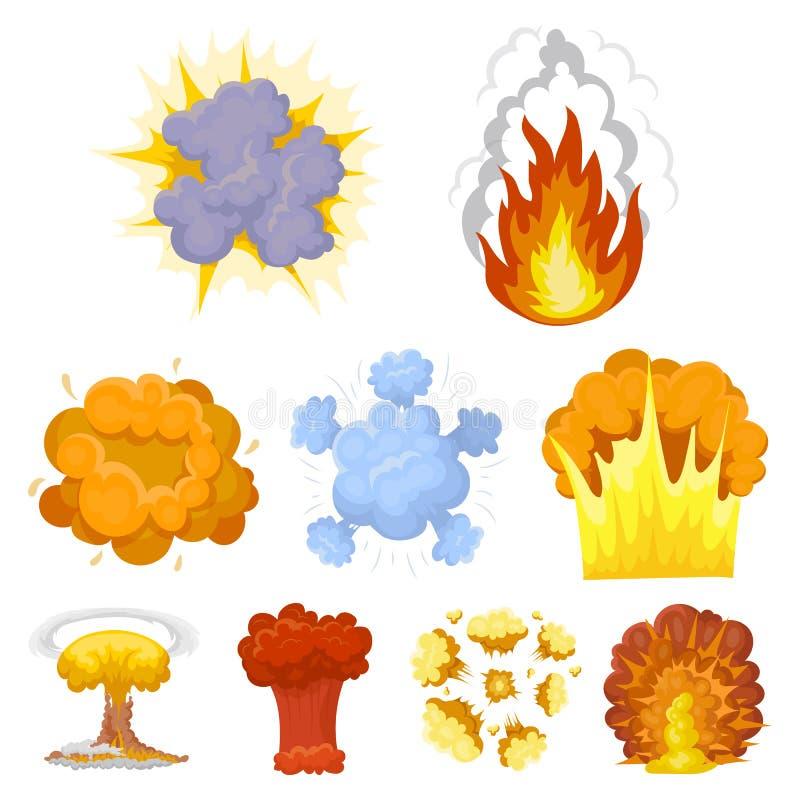 Um grupo de ícones sobre a explosão Várias explosões, uma nuvem de fumo e fogo Ícone das explosões na coleção do grupo sobre ilustração do vetor