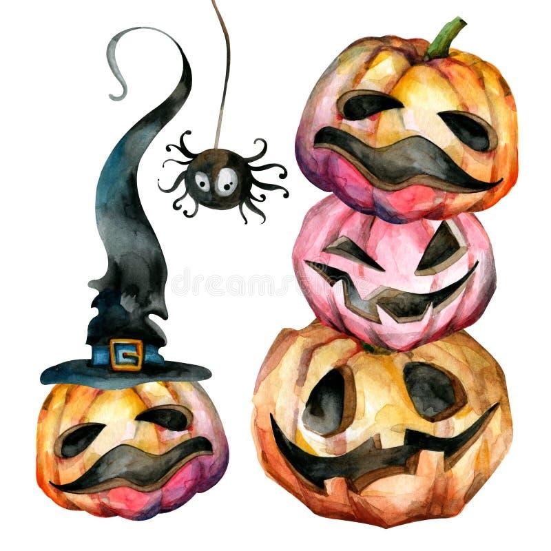 Um grupo de abóboras coloridos para Dia das Bruxas Faces engraçadas ilustração stock