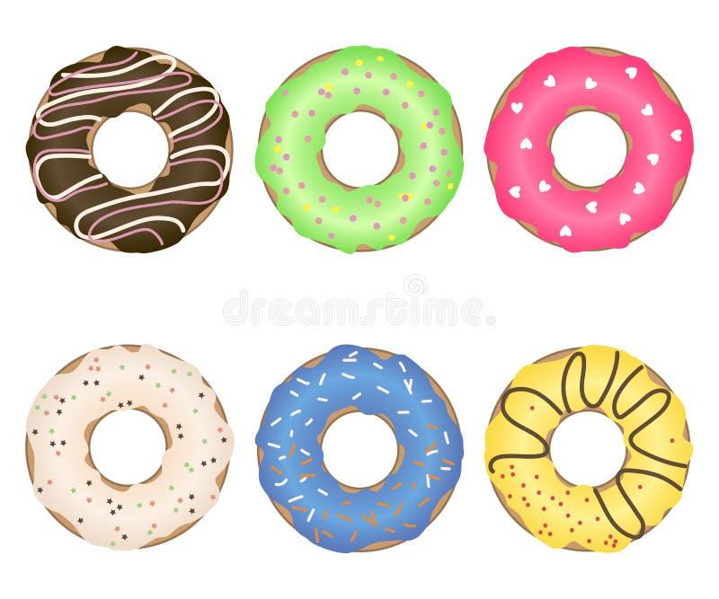 Um grupo de anéis de espuma deliciosos coloridos com polvilhar diferente e o esmalte Vetor ilustração stock