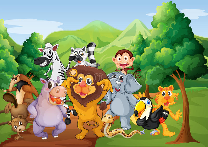Um grupo de animais na selva ilustração royalty free