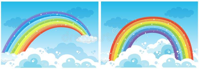 Um grupo de arco-íris no céu ilustração do vetor
