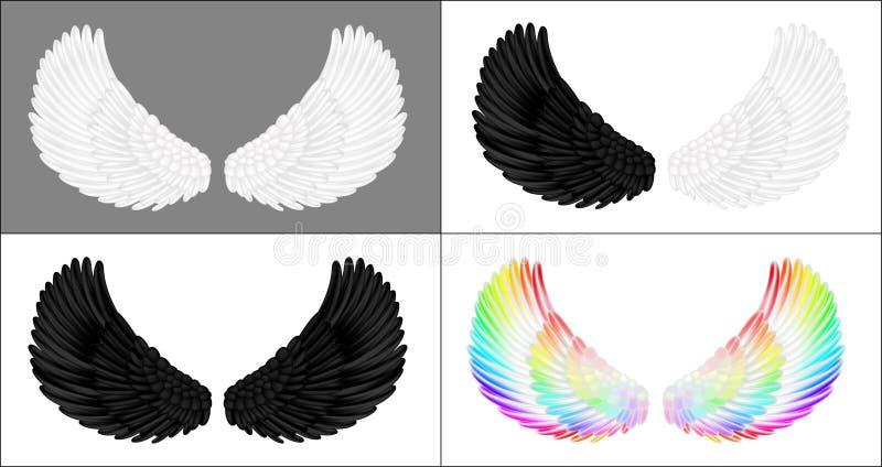 Um grupo de asas do anjo ilustração do vetor