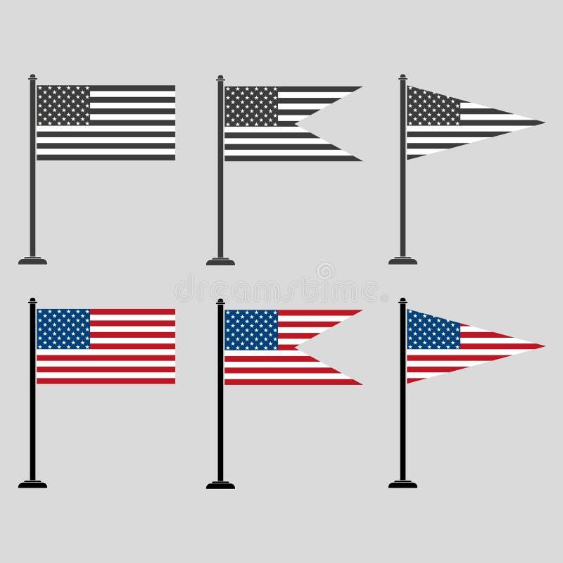 Um grupo de bandeiras americanas de formas diferentes, coloridas e cinzentas ilustração do vetor