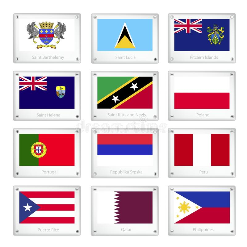 Um grupo de bandeiras nacionais em placas da textura do metal ilustração stock