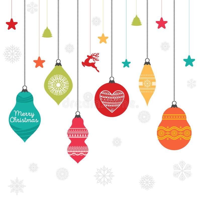Um grupo de bolas do Natal com ornamento e elementos decorativos do projeto ilustração stock