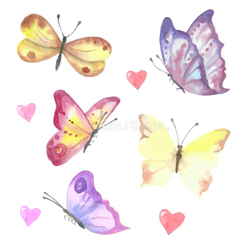Um grupo de borboletas do watercolour do vetor Coleção bonita imagens de stock