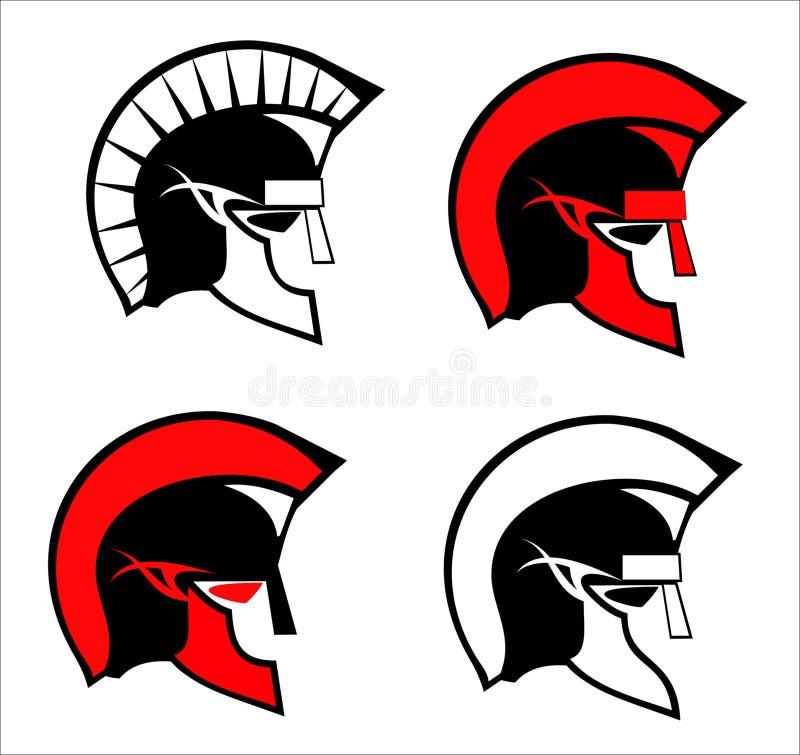 Um grupo de cabeças do guerreiro de sparta ilustração royalty free