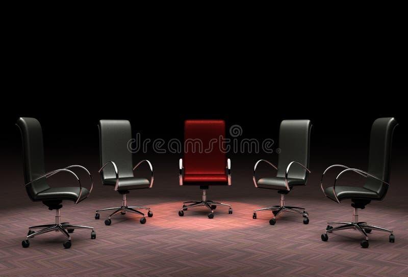 Um grupo de cadeiras do escritório que representam os conceitos da liderança, está para fora da multidão, diferente ilustração do vetor