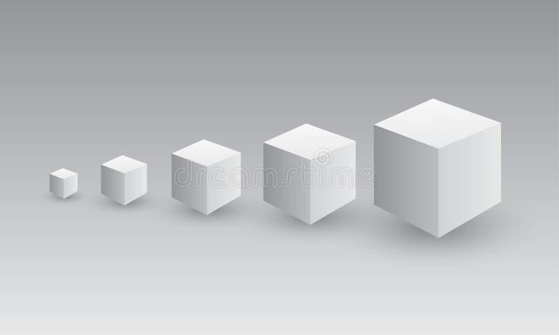 Um grupo de caixa cinzenta ou preto e branco do cubo que mostra o crescimento no negócio e no sucesso ilustração royalty free
