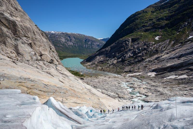 Um grupo de caminhante da geleira que anda abaixo da geleira em um dia ensolarado Mostrando a exploração e o desafio extremo do e imagens de stock