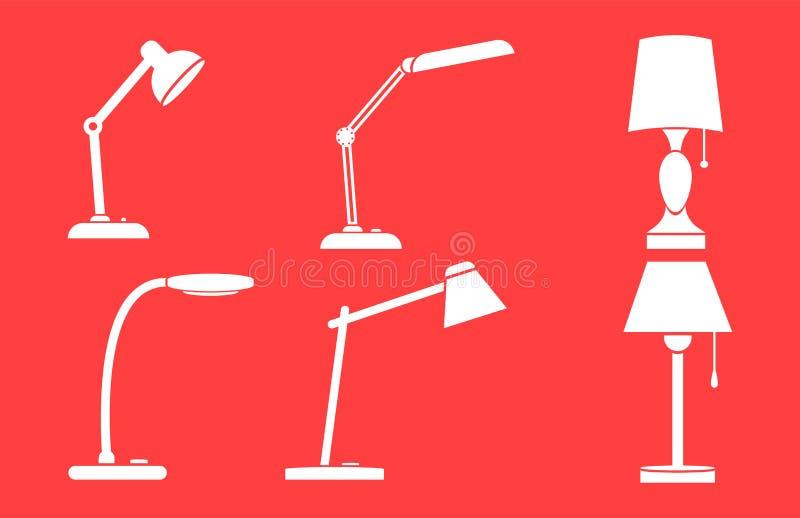 Um grupo de candeeiros de mesa Ícones brancos em um fundo vermelho ilustração do vetor