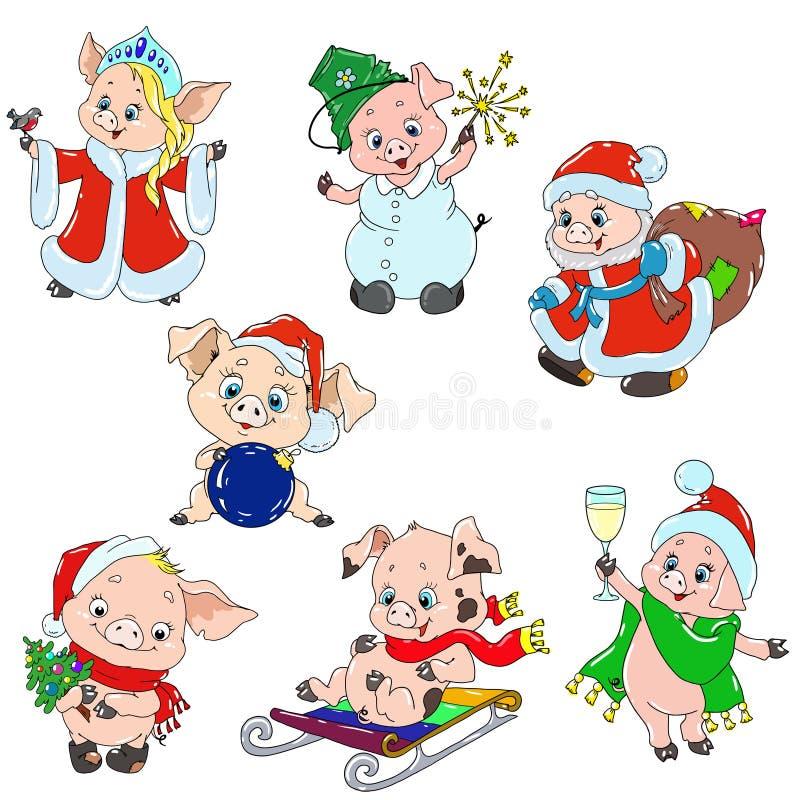 Um grupo de caráteres bonitos pelo ano novo Caráteres do Natal Desenhos animados leitães para o cartão Vetor para o projeto ilustração royalty free