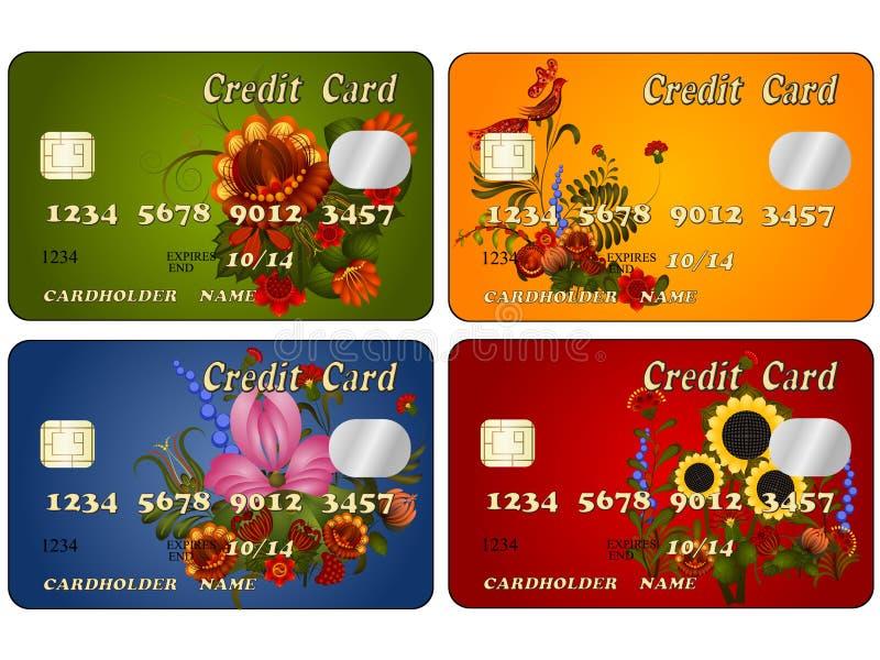 Um grupo de cartões de crédito com designs florais ilustração stock