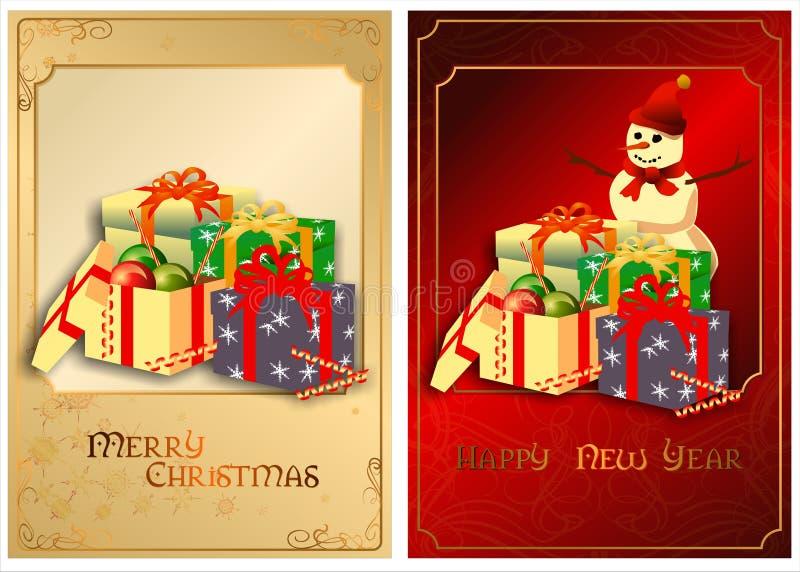 Um grupo de cartões de Natal. 01 (vetor) ilustração royalty free