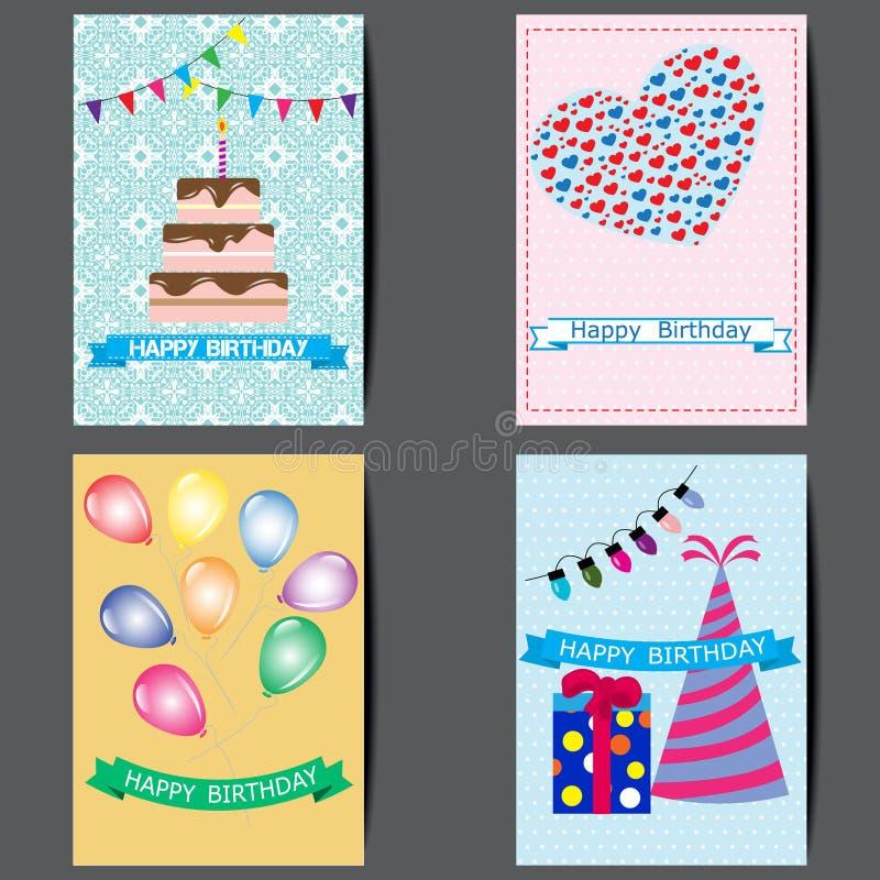 Um grupo de cartões, projeto de cartão colorido do feliz aniversario ilustração royalty free