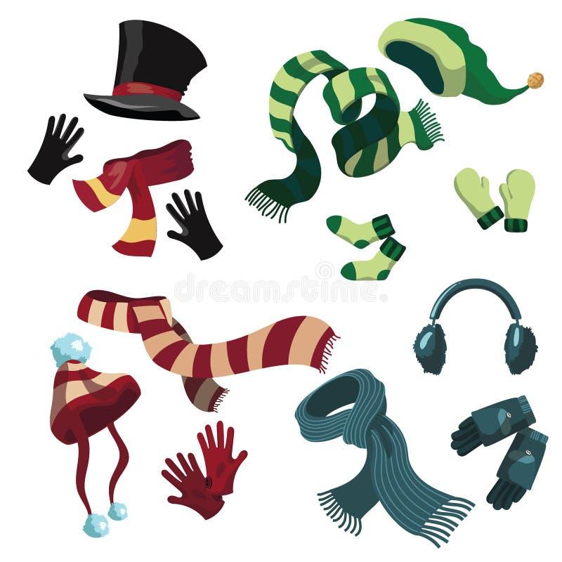 Um grupo de chapéus e de scarves do inverno Uma coleção de chapéus e de luvas mornos Roupa do inverno ilustração stock