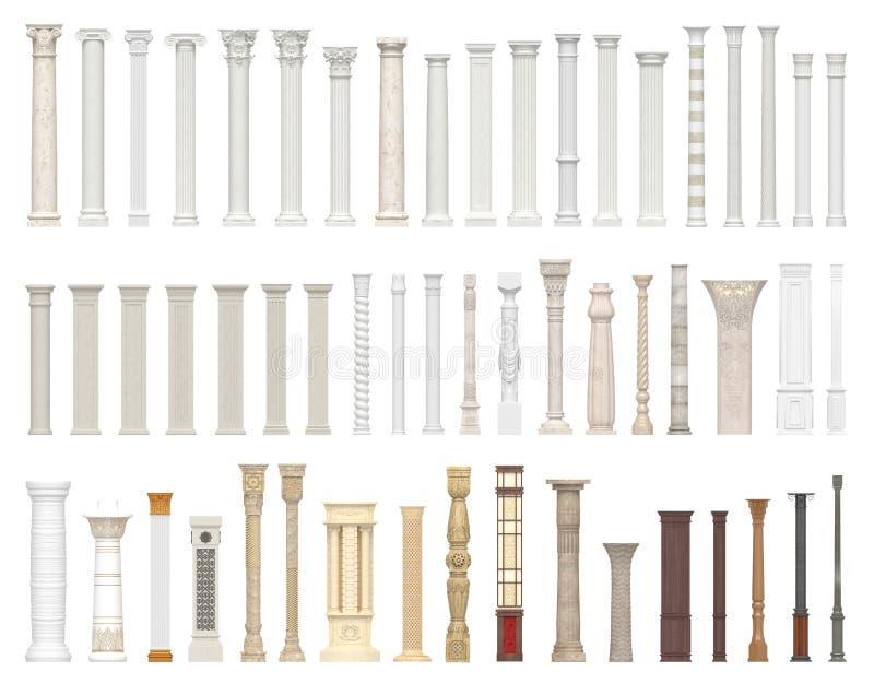 Um grupo de colunas e de colunas de estilos diferentes Autorização arquitetónica no fundo branco visualização 3d ilustração royalty free