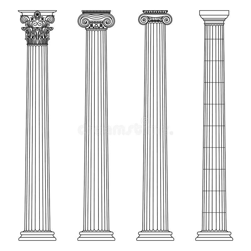 Um grupo de colunas gregas e históricas antigas com linha iônica, dórico e Corinthian ilustração do vetor dos capitais ilustração do vetor