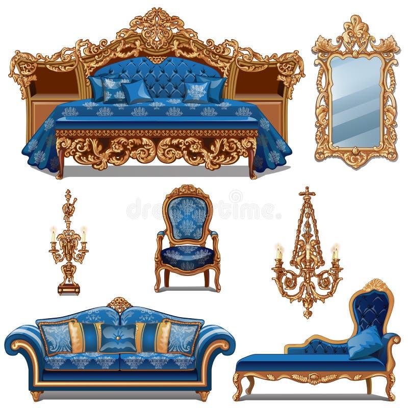 Um grupo de cor azul da mobília para o interior do vintage isolado no fundo branco Ilustração do close-up dos desenhos animados d ilustração stock