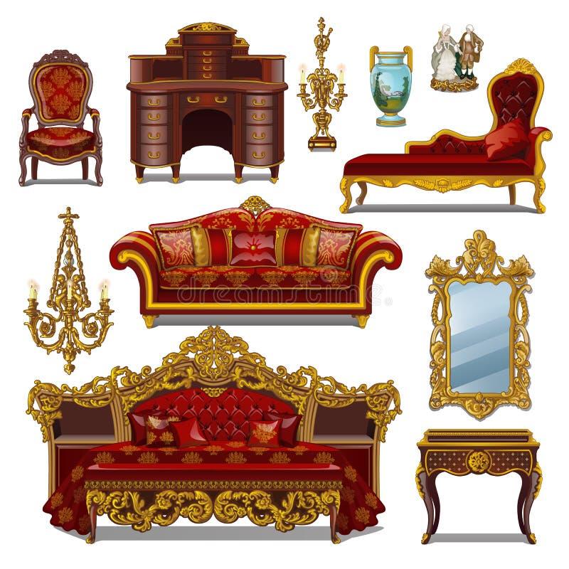 Um grupo de cor vermelha da mobília para o interior do vintage isolado no fundo branco Ilustração do close-up dos desenhos animad ilustração do vetor