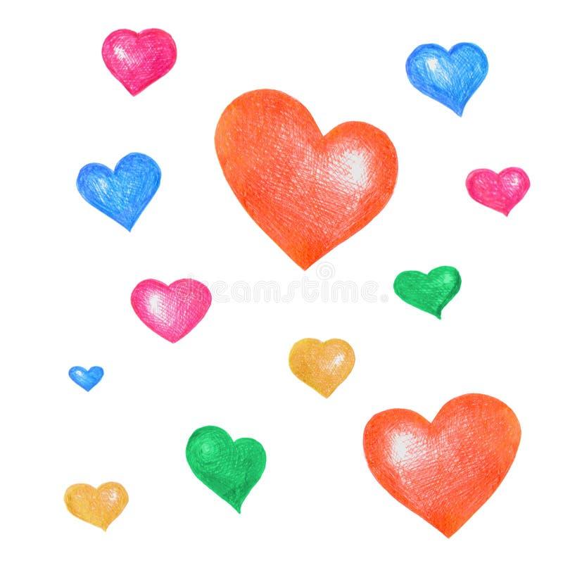 Um grupo de corações desenhados à mão coloridos ilustração do vetor