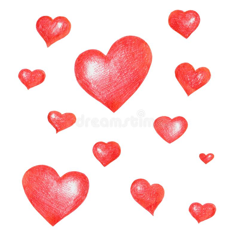 Um grupo de corações desenhados à mão vermelhos Isolado no fundo branco ilustração do vetor