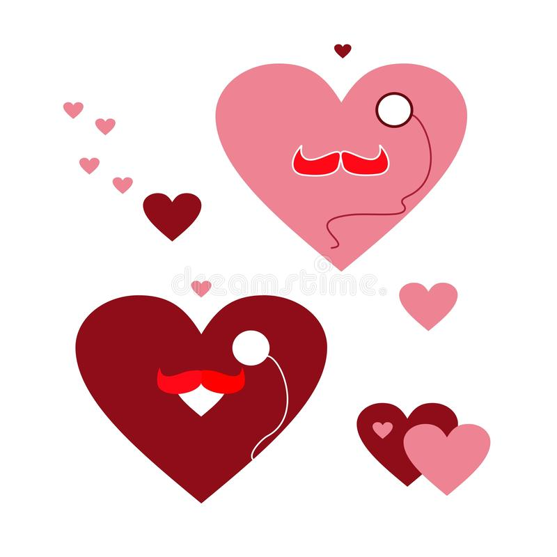 Um grupo de corações engraçados com um bigode e um monóculo EPS imagem de stock