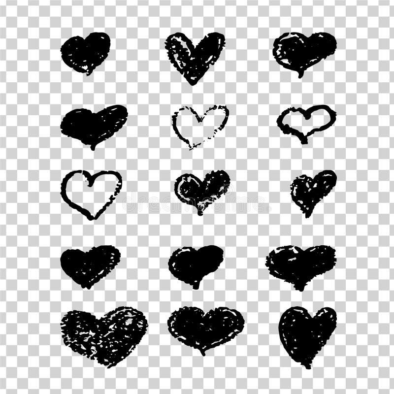 Um grupo de corações pretos desenhados à mão Projete elementos com uma textura do grunge para vales-oferta, convites e Valentim ilustração do vetor