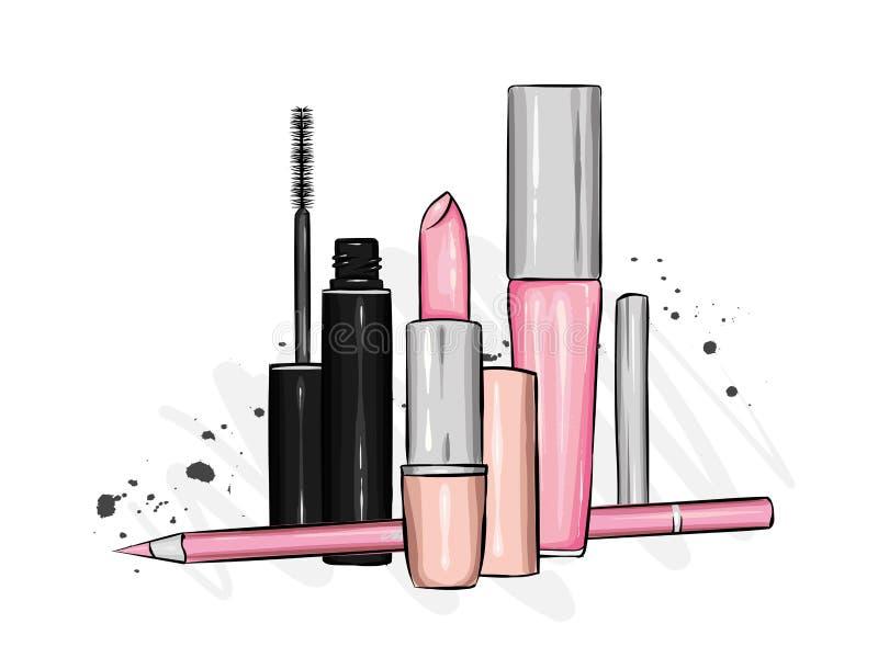 Um grupo de cosméticos fêmeas - batom, brilho do bordo, lápis, rímel Forma e estilo, ilustração do vetor Foco dos cosméticos e do ilustração royalty free