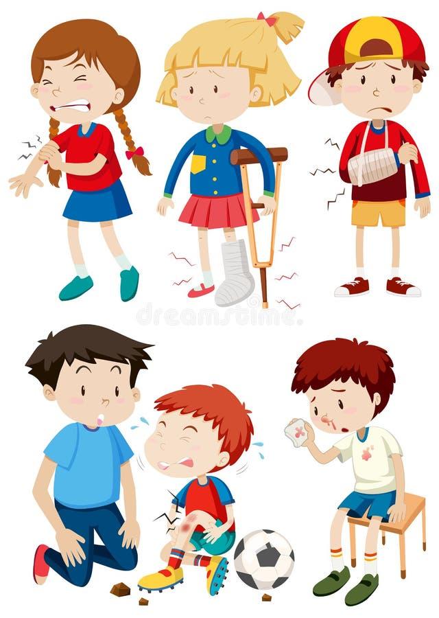 Um grupo de crianças e de acidente ilustração stock