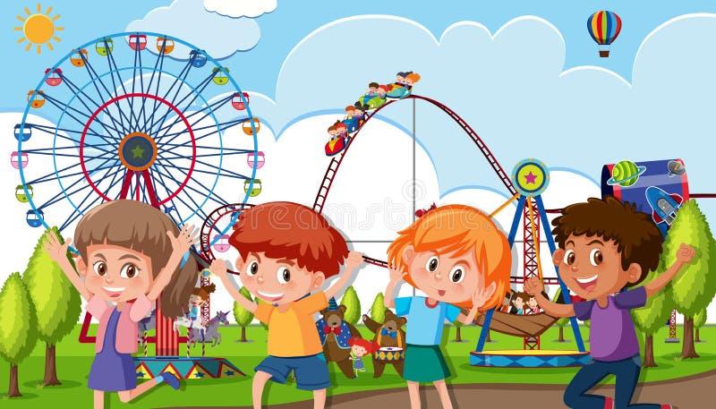 Um grupo de crianças no parque temático ilustração royalty free