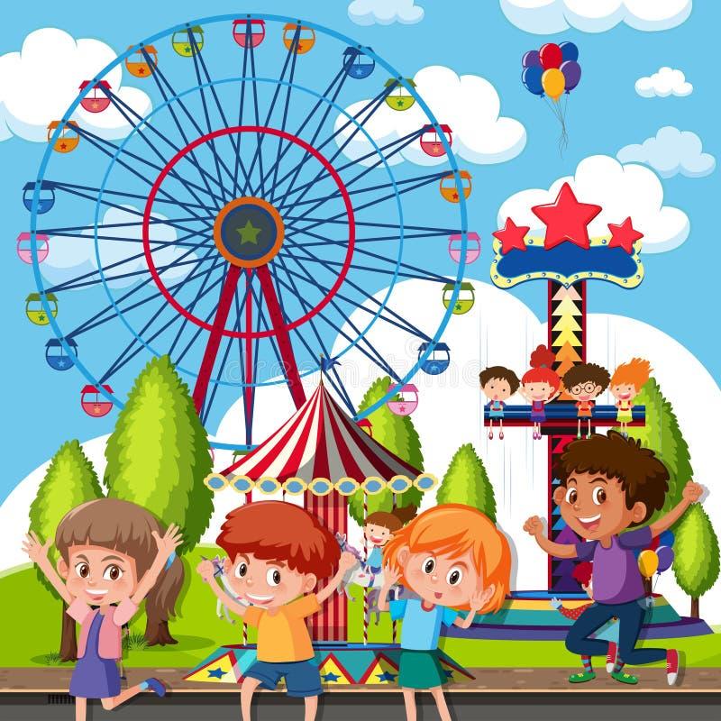 Um grupo de crianças no parque temático ilustração stock