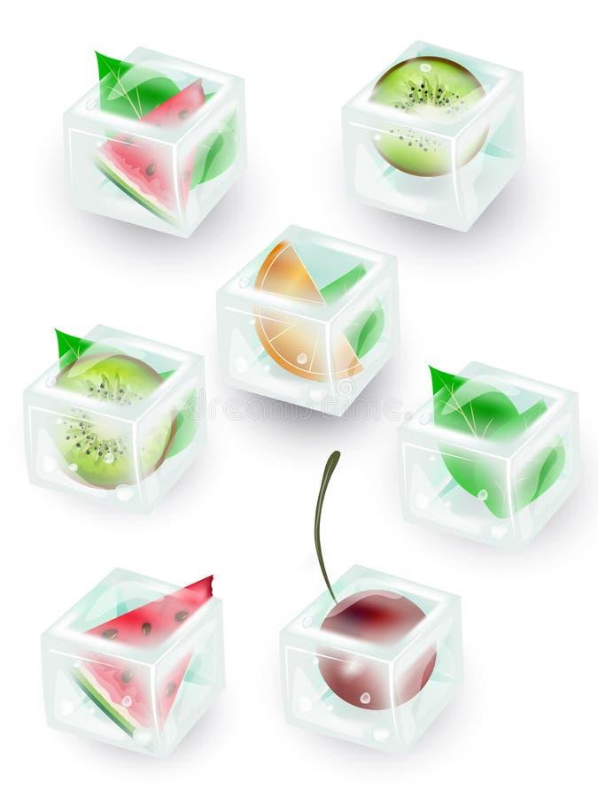 Um grupo de cubos de gelo transparentes em tons azuis Cubos do gelo com quivi, hortelã, cereja, melancia, alaranjada ilustração royalty free
