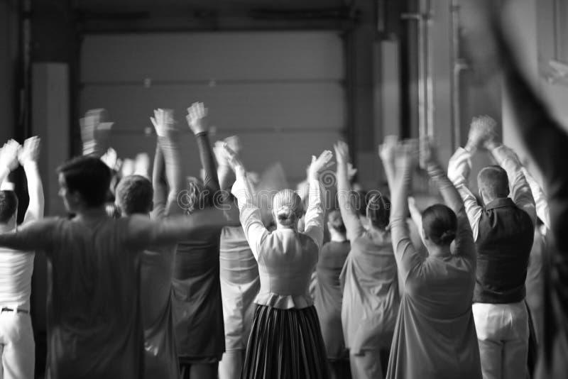 Um grupo de dançarinos nos trajes foto de stock royalty free