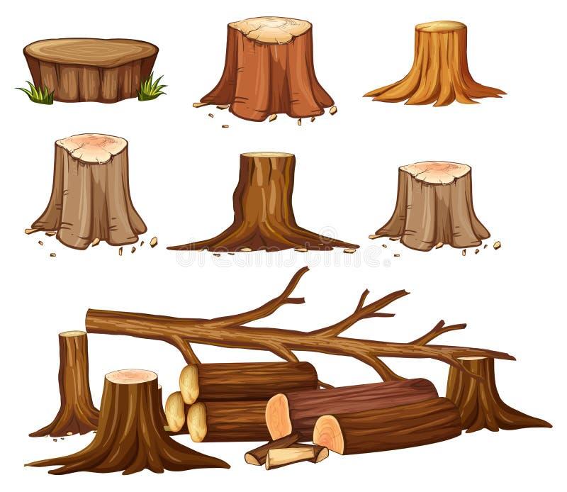 Um grupo de desflorestamento ilustração stock