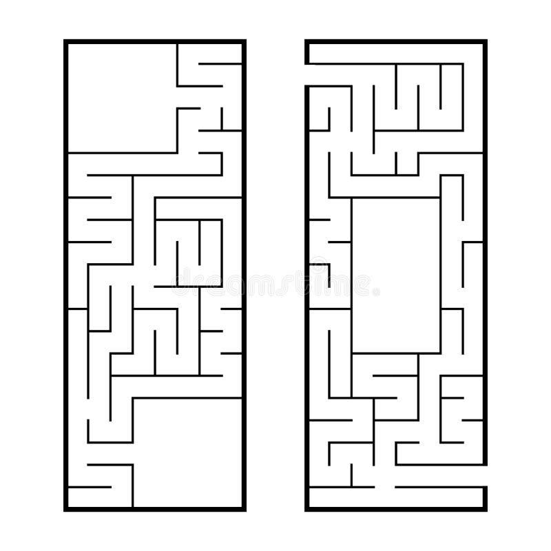 Um grupo de dois labirintos retangulares Um jogo interessante e útil para crianças em idade pré-escolar Enigma fácil Ilustração l ilustração royalty free