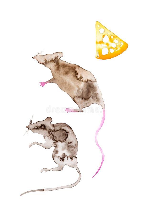 Um grupo de dois ratos abstratos e uma parte de queijo amarelo S?mbolo de 2020 anos novos Ilustra??o da aquarela isolada no branc ilustração royalty free