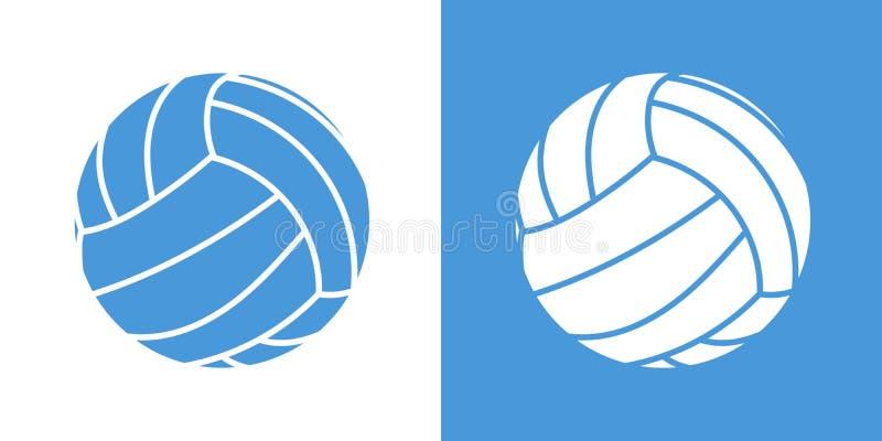 Um grupo de duas variações de ícones simples da bola do voleibol No branco e em um fundo azul ilustração royalty free