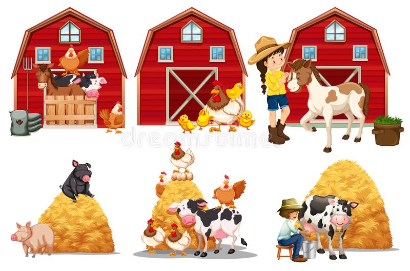 Um grupo de elemento da exploração agrícola ilustração do vetor