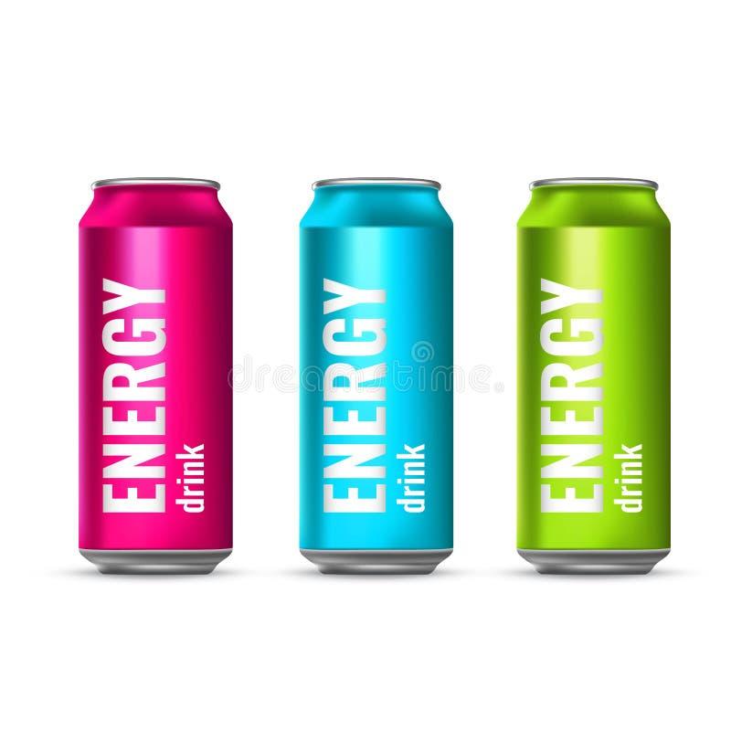 Um grupo de energia bebe em umas latas de lata Bebidas refrigerando do verão Ilustração do vetor 3d ilustração stock