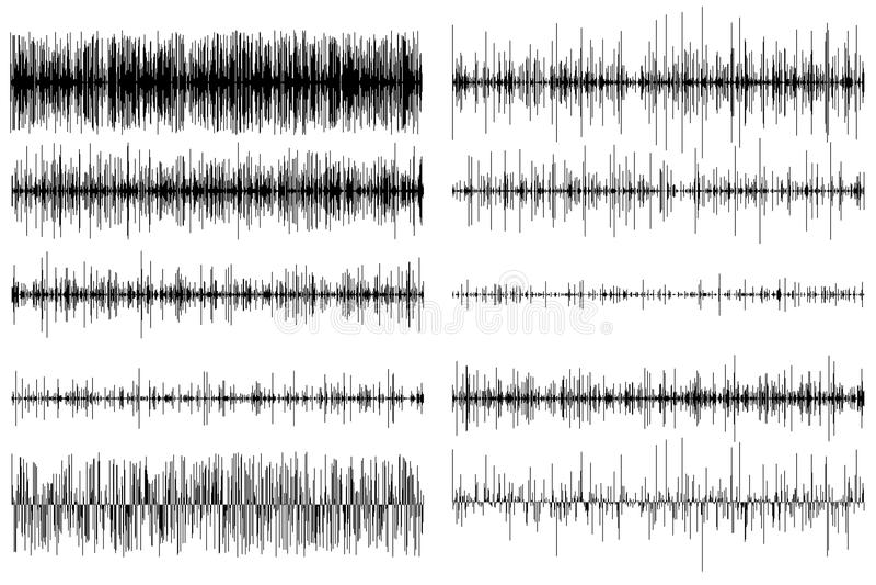 Um grupo de equalizadores sadios Onda sadia rádio Ilustração do vetor ilustração stock
