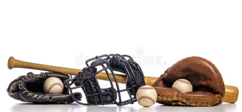 Um grupo de equipamento de basebol do vintage foto de stock royalty free