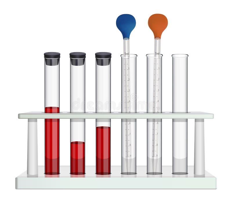 Um grupo de equipamento de laboratório para a análise do sangue Tubos de ensaio de vidro e pipeta de medição na cremalheira do la ilustração stock