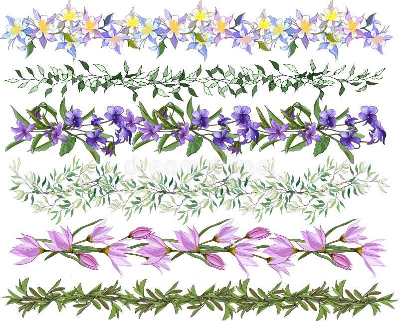 Um grupo de escovas de florescência do vetor Uma coleção de testes padrões florais para o projeto, malhas, matérias têxteis Teste ilustração do vetor