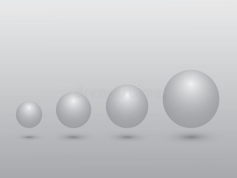 Um grupo de esfera preto e branco de pequeno ao crescimento grande do significado do tamanho no fundo cinzento ilustração stock