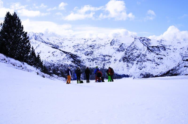 Um grupo de esquiadores novos nas montanhas admira o cenário da montanha do inverno foto de stock