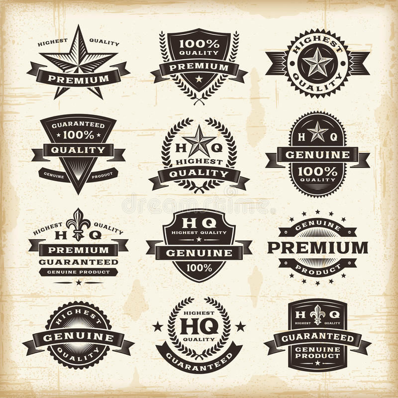 Grupo de etiquetas superior da qualidade do vintage ilustração stock