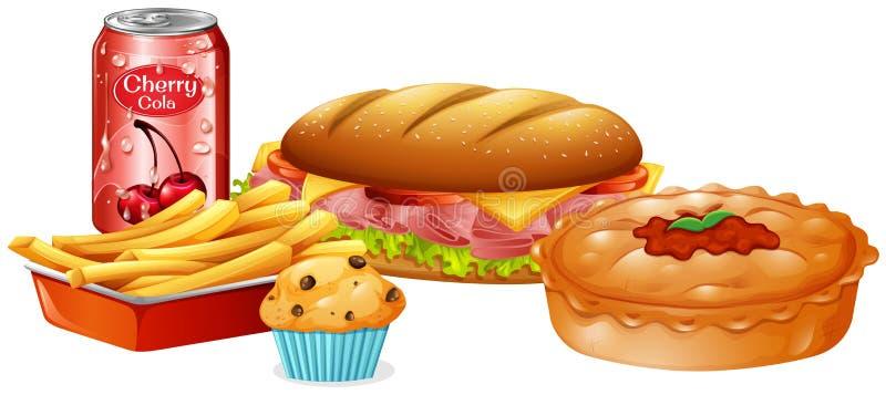 Um grupo de fast food ilustração stock