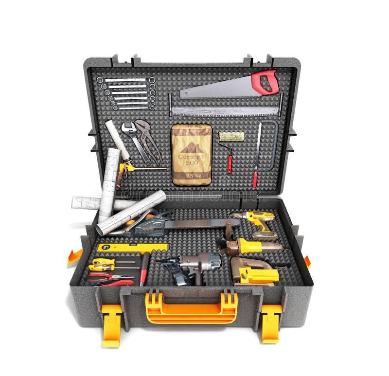 Um grupo de ferramentas no caso 3d rende no fundo branco ilustração royalty free
